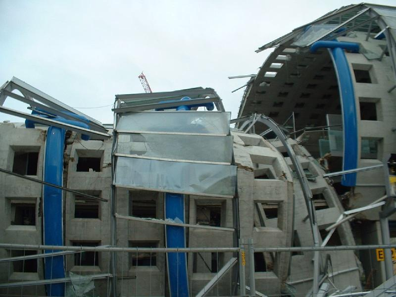 Steel-concrete composite structure collapsing.