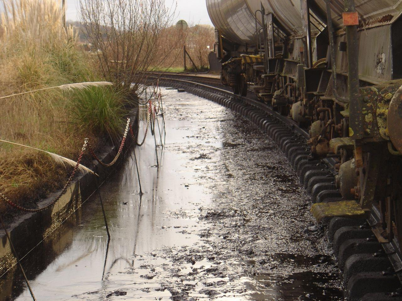 Diesel oil spillage caused by a leaking tank.