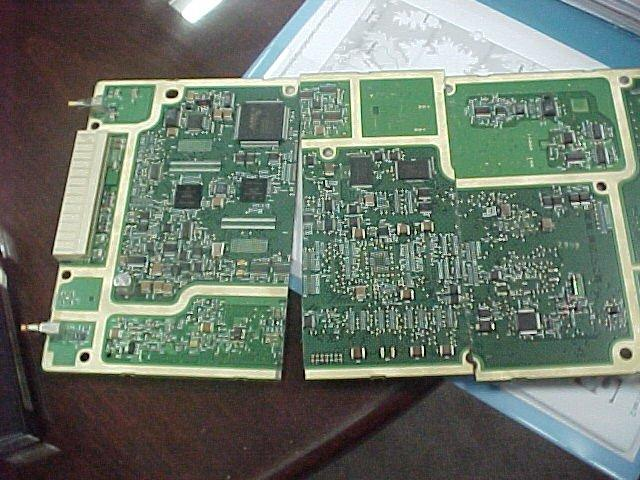 Electrolytic deposit on printed circuit.